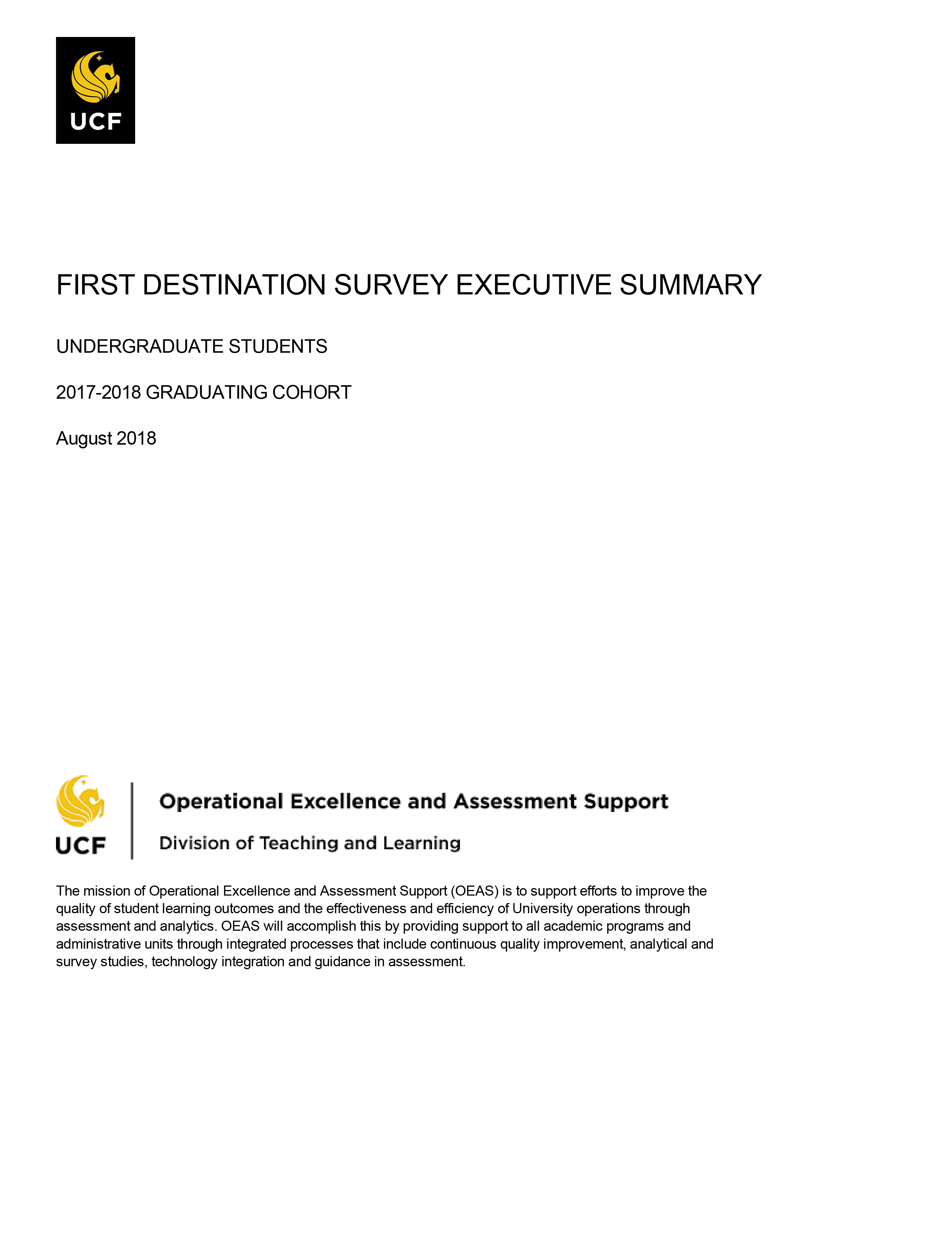2015-16 First Destination Survey Executive Summary